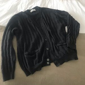 Sweaters - Grandpa-Style Dark Grey Cardigan (Slightly Baggy)